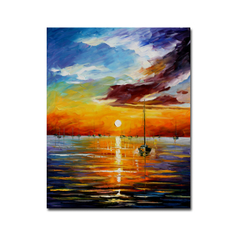 Harga Hyper-drive Frameless 40X50CM Painting Abstract Beautiful Sunrise and Sea Landscape Prints on Canvas Home Decor - Intl