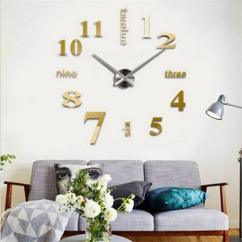 Personality Modern 3D DIY Living Room Mirror Acrylic Wall Clock - intl