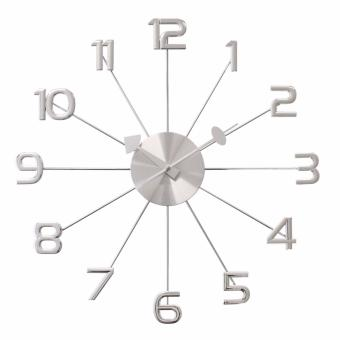 "Harga JustNile Decorative Metal Analog Wall Clock - 19.1"" Large Numerals(Silver)"