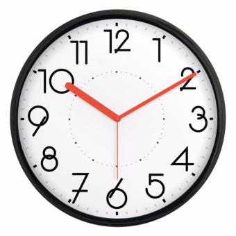 Harga JustNile Silent Non Ticking Modern Wall Clock - 13 inch Black Frame/Red Hands
