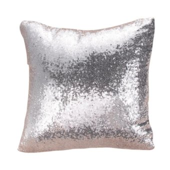 Harga Solid Glitter Sequins Throw Pillow Case Lounge Decor Cushion Silver-White