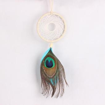 Harga Handmade Dream Catcher Net with Peacock Feather Wall Decor Craft Dreamlike - intl