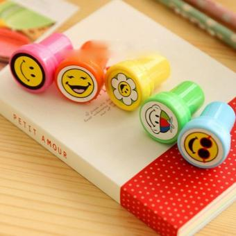 Harga 20PCS Mini Smile Face Seal signet stamper Random For Craft Art Kids Students Toy Award Seal Pattern (random) - intl