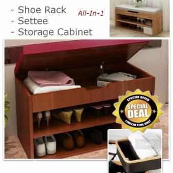 Harga Shoe Rack With Cushioned Settee And Storage * Pull-Up Settee Built-In Storage * Save Space 3-In-1 Innovation * Soft Seat/Cabinet/Shoe Rack/Wooden Furniture/Living Room/Foyer/Easy Colour Matching