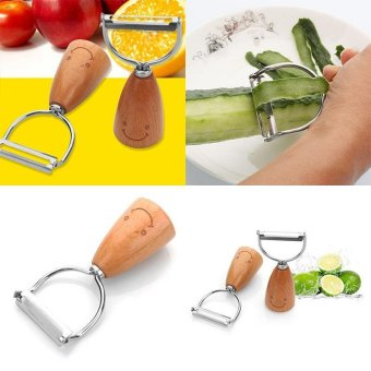 Harga Stainless Steel 430 Heavy Korean Cute Smile Face Cartoon Wooden handle Peeler Tableware Flatware - intl