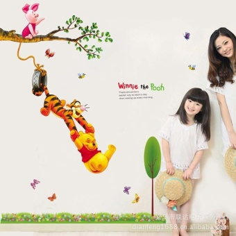 Harga Winnie the pooh cartoon winnie the pooh bedroom decorate children room to swing wall wall stickers AY842 - intl