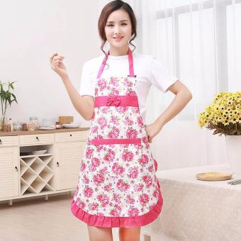Harga Amart Kitchen Printed Apron with Pockets Waterproof Floral Bib Rose Red - intl