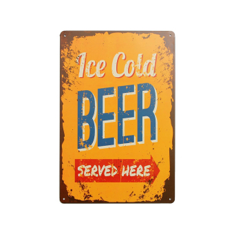 Harga Vintage Metal Tin Sign Beer Wall Tavern Garage Decor Home Pub Bar Poster Plaque ICE COLD BEER SERVED HERE - intl