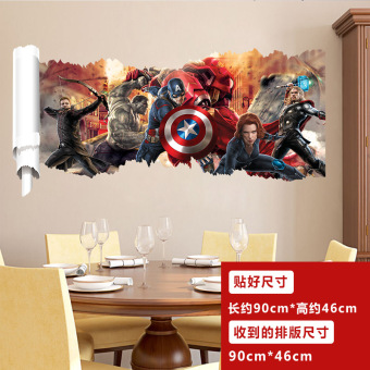 Harga Avengers iron man captain america hulk 3d wall stickers living room bedroom children's room classroom sticker
