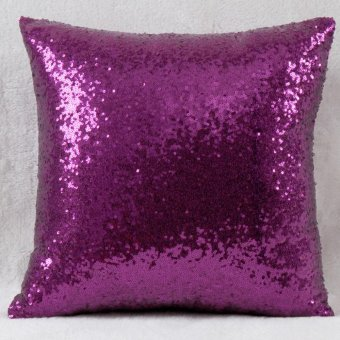 Harga Solid Glitter Sequins Pillow Case Sofa Cushion Cover Home Lounge Cafe Decor New(Brown)