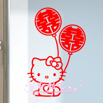 Harga Word stickers door stickers HELLO kitty balloon MARRIAGE room wedding celebration creative cartoon hello kitty wall stickers furnishings