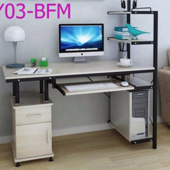 Harga Modern and simple design office/home use computer desk (White) Y03-BFM