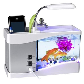 Mini USB Desktop Aquarium Fish Tank LCD Lamp Light LED Clock with alarm clock Calendar Time Date Temperature for Office Homes Best CNY Gift - intl
