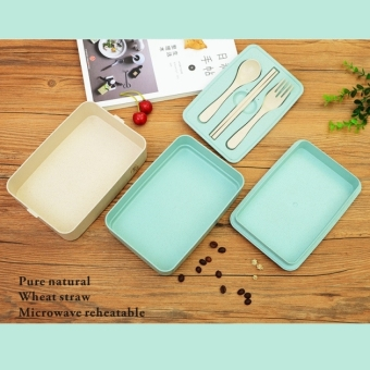 Harga Three layer.Plastic Lunch box Lunchbox Bento Lunch Box Food Container Student's lunch box(Blue) - intl