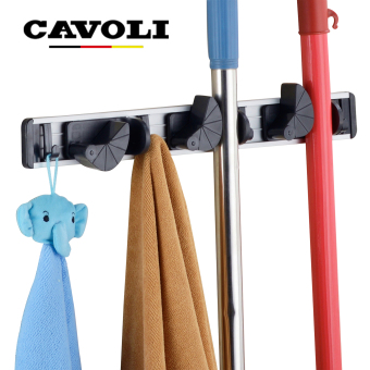 Harga Cavoli(3 Positions) Wall Bath Mounted Dust Mop Holder and Dust Mop and Broom Rack Storage Organizer Broom Closet (Sliver)#T03 - intl