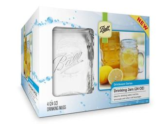 Harga Ball Mason 24oz Drinking Mug Set of 4 (Clear)