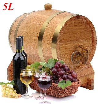 Harga 5L Oak Wood Barrel Keg For Wine Spirits Whisky Port Liquor French Toasted Gift - intl