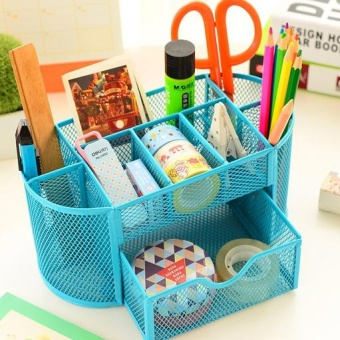 Notes seat pen stationery supplies business card holder creative multi-function combination of metal iron Mesh Office