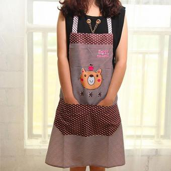 Harga Moonar Cartoon Bear Pattern Waterproof Kitchen Apron with Pocket (Coffee)