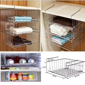 Harga Under-Shelf Basket Organisers★ Organized Living Under-Shelf Basket Cabinet Organizers Wire Undershelf Storage Basket Kitchen Storage Kitchen Cabinet Shelf