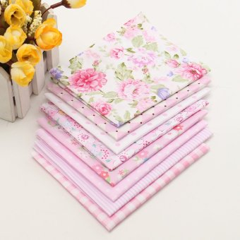 Harga 8''x8'' 20''x20' Pink Pre-Cut Plain Cotton Quilt cloths Fabrics for Sewing 8PCS Size 200X250mm - intl