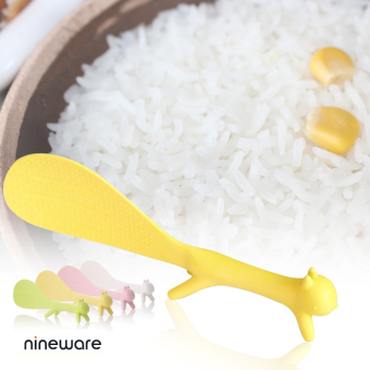 Harga South korean imports of plastic sticky rice spoon squirrel spoon vertical cute rice cooker spoon green rice shovel