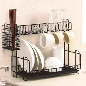 Harga Tableware Storage Rack Shelf Double dishes - black (AO169)