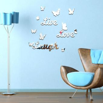 Harga Live Laugh Love Quote Removable Vinyl Wall Stickers Butterflies Art DIY