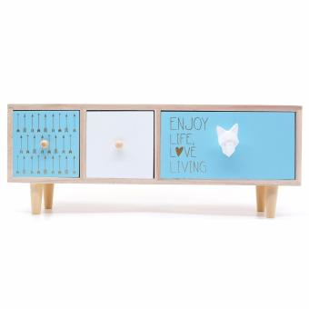 Harga Nordic Wooden Cabinet with three drawers (Hor Blue)