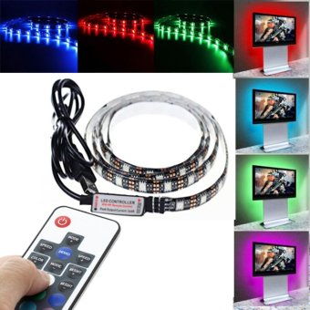 Harga 5V USB Cable LED Strip Light Lamp SMD5050 Christmas Flexible led Stripe Lights TV Background Lighting (100CM) - intl
