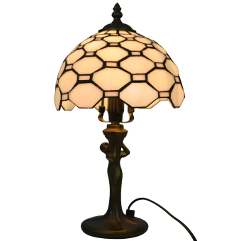 Harga white stained glass shade TLC08005 width 8inch high 13inch tiffany style table lamp resin base - intl