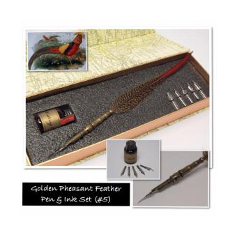 Golden Pheasant Feather Quill Fountain Calligraphy Pen with Nibs Set