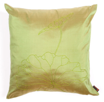 Harga Taffeta Silk Embroidery Cushion Cover with lotus embroidery - Green