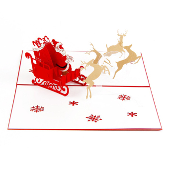 Harga Christmas 3D Pop Up Santa Claus Reindeer Ride Greeting Card Christmas Party Invitation Card Gift with White Envelope