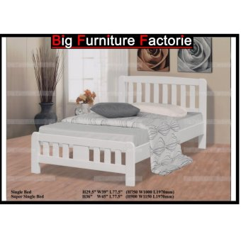 Harga BFF3601-WB Solid Wooden Bed (White) – Single