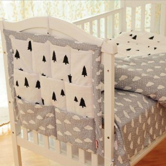 Harga Crown Clouds Tree Fruits Baby Cot Bed Hanging Storage Bag Cotton Crib Organizer,Toy Diaper Pocket for Crib Bedding Set 52*58cm - intl
