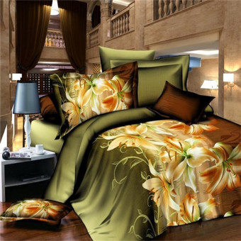 Harga Qiaosha 3D Lily Double Size Bedding Sheet Pillowcase Set Printed Duvet Cover (Intl)