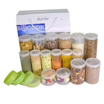 Harga Silicook Stacking Ring + 16 Pieces of Subdivision Round Food Container for Storage in Refrigerator(Fridge). Gift Set.