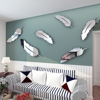 Harga Swan feather acrylic mirror 3d three-dimensional wall stickers living room bedroom entrance sofa background home decoration cheap