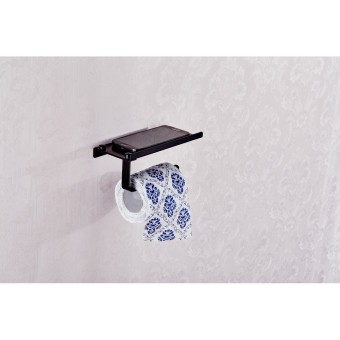 Stainless Steel Toilet Roll Holder Wall Mounted Paper Holder(Black)