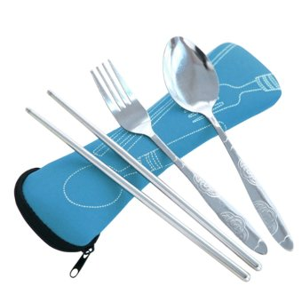3pcs / Set Portable Stainless Steel Dinnerware Tableware Set Spoon Fork Chopsticks with Pull Chain Case Blue