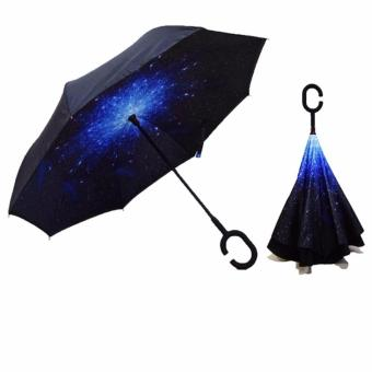 Harga 3rd Gen Double Layer Reverse Umbrella -C handle / Flower umbrella /2016 Model open/close in the narrow space without getting Rain Wet Creative Windproof Car Owner Must have