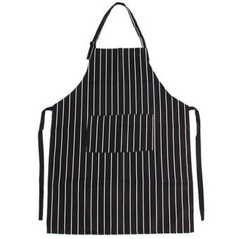 Harga LALANG Adults Stripe Bib Apron with 2 Pockets (Black / White)