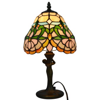 Harga Flower TLC08010 width 8inch high 13inch stained glass shade tiffany style table lamp resin base
