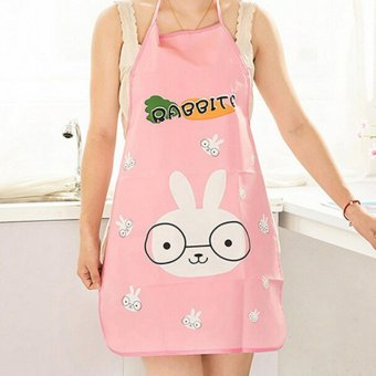 Harga Women Cute Cartoon Waterproof Apron Kitchen Restaurant Cooking Apron Bunny - intl
