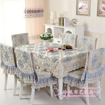 The new european dining chair cover fabric lace table cloth tablecloth coffee table cloth tables and chairs set cushion back cover chair pad