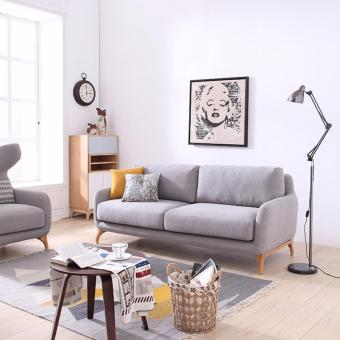 Nordic Style Solid Wood Frame 3 Seater Designer Sofa (Light Grey color)