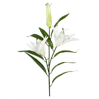 Harga 1Pcs Artificial Lily Silk Flowers Real Touch Flower Home Wedding Decoration Desk Ornaments Flower (White) - intl