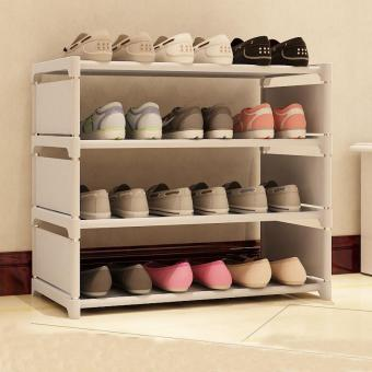 Harga 4 Layer Shoes Organizer Stand Shelf Dustproof Shoe Rack Collapsible Shoe Cabinet 50*60*30cm