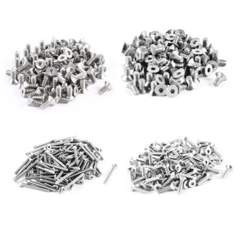 Harga 100pcs 304HC Stainless Steel Hex Countersunk Flat Head Bolts Screws M3x30mm - intl